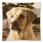 P122- Yellow  Lab Square Decoupage Plate
