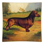 P128- Dachshund Square Decoupage Plate