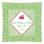 P1600-Pink & Green Daisy Personalized Birth Announcement Plate