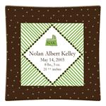 P1606- Brown and Green Dots Personalized Birth Announcement Plate