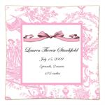P1607 Pink Toile Personalized Birth Announcement Plate