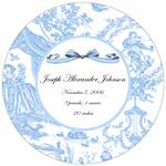 M1608-Blue Toile Birth Announcement  Personalized  Melamine Plate/ Platter