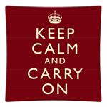 P1730-Keep Calm and Carry On Red Decoupage Plate
