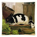 P189 - Black and White Rabbit Square Plate