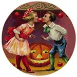 P194- Bobbing for Apples Halloween Decoupage Plate