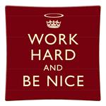 P2456 - Work Hard and Be Nice Red Decoupage Plate
