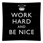P2458 - Work Hard and Be Nice Black Decoupage Plate