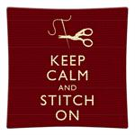 P2794 - Keep Calm And Stitch On Decoupage Plate Red