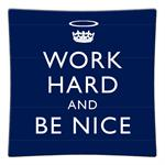 P2796 - Work Hard and Be Nice Navy Decoupage Plate