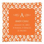 P2810-Ikat Orange Personalized Plate
