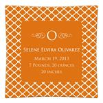 P2855-Chelsea Orange Personalized Birth Announcement Plate