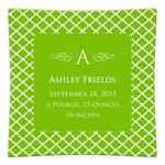 P2856-Chelsea Lime Personalized Birth Announcement Plate