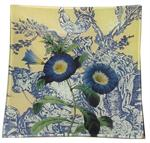 P301- Morning Glories on Yellow French Toile Decoupage Plate