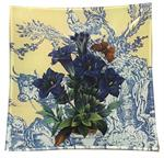 P304 - Blue Flowers on Yellow French Toile Decoupage Plate
