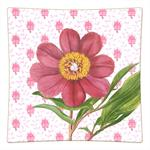 P347-Pink Peony on Provencial Print Decoupage Plate