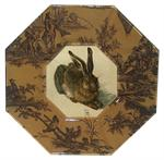 P364 - Brown Single Rabbit Decoupage Plate