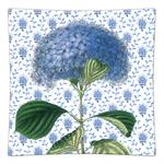 P396-Blue Hydrangea on Provencial Print Squared Plate