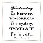 P8276-Yesterday is history Tomorrow a mystery. Today is a gift. Eleanor Roosevelt Quote Decoupage Plate