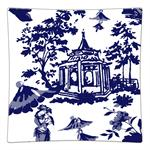 P8392 - Chinoiserie Pagoda in Blue Decoupage Plate