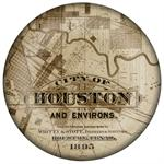 PW2434 - City of Houston Antique Map Dome Paperweight