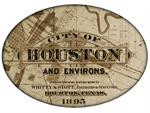PW2434 - City of Houston Antique Map Oval Paperweight