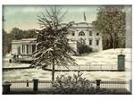 P2591-The White House in Winter Washington D.C. Decoupage Plate