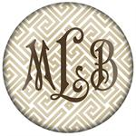 PW2653-Tan and White Fret Monogrammed Paperweight