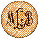 PW2658 - Orange & White Fret Monogrammed Paperweight