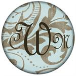 PW881-Aqua and Taupe Damask Personalized Paperweight