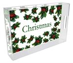 T1230-Holly Berries Personalized Lucite Tray