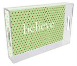 T1238-Christmas Dots Personalized Lucite Tray