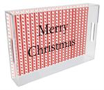 T1239-Candy Cane Stripe Personalized Lucite Tray