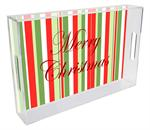 T1249-Large Christmas Stripe Personalized Lucite Tray