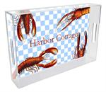 T1401-Lobsters on Gingham Personalized Lucite Tray