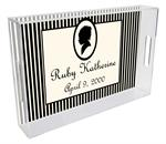 T1615- Mod Silouette Black and Cream Girl Birth Announcement Personalized  Lucite Tray