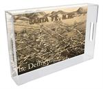 T2596- Santa Fe Antique Map Lucite Tray