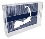 T2817- Cape Cod on Navy  Chevron Lucite Tray