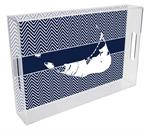 T2817- Nantucket on Navy  Chevron Lucite Tray