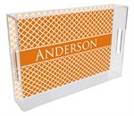 T2855-Chelsea Orange Personalized Lucite Tray