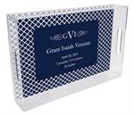 T2857-I - Chelsea Navy Personalized Lucite Tray with Inset