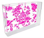 T8391 - Chinoiserie Pagoda in Pink Lucite Tray