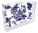 T8392 - Chinoiserie Pagoda in Blue Lucite Tray
