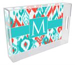T8414 - Coral and Turquoise Ikat Lucite Tray