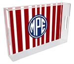 T8417 - Red Stripe with Navy Monogram  Lucite Tray