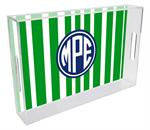 T8418 - Green Stripe with Navy Monogram  Lucite Tray