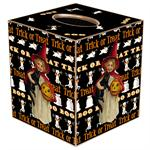 TB1103-Girl Holding Cat & Pumpkin with Trick or Treat background Tissue Box Cover