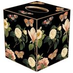 TB1117 - Floral 1 on Black Tissue Box Cover