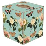 TB1119-Floral 1 on Aqua Tissue Box Cover