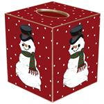 TB1244 - Snowman on Red Tiny Polka  Dot Tissue Box Cover