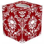 TB1276 - Red & White Damask Tissue Box Cover
